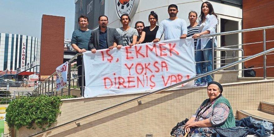 GÜMRÜKÇÜ PROTESTO EDİLDİ..ÇİĞLİ BELEDİYESİ'NDE İŞTEN ATILAN ÇALIŞANLAR EYLEM YAPTI