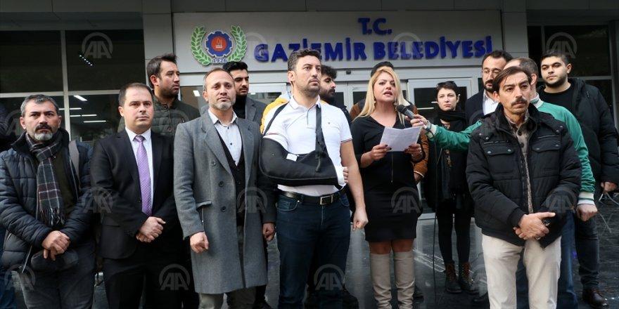 SENDİKACILAR GAZETECİ DARP EDERSE...BASIN AÇIKLAMASI YAPTILAR